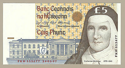 1997 CENTRAL BANK OF IRELAND £5 NOTE, P75b, CHOICE CRISP UNCIRCULATED