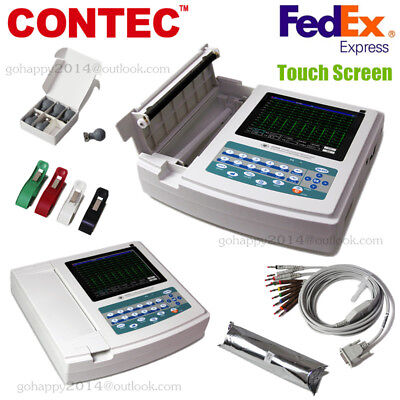 USA Touch Portable ECG/EKG Machine ECG1200G,Printer&Paper,12 Channel 12 Leads