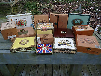 14 Cigar Boxes different to collect or crafts NO CIGARS