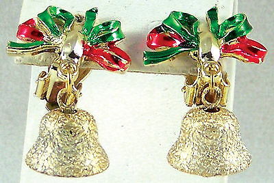Earrings Christmas Bells Red Green Enamel Ribbon Clip Back Goldtone Vintage