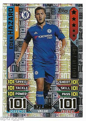 2016 / 2017 EPL Match Attax (465) Ecden HAZARD Chelsea 100 Club 2016