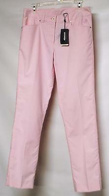 New Ladies Abacus Size 8 Dry Cool polyester spandex Pink pinstriped golf pants