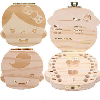 Safe Tooth Organizer For Baby Save Milk Teeth Wood Storage Box kids Boy&Girl