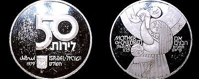 1979 Israeli 50 Lirot Silver Proof World Coin - Israel Mother and Children