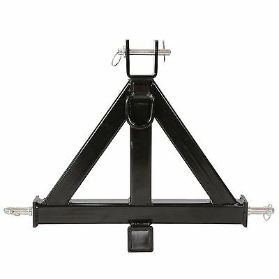 """Black 3 Point 2"""" Receiver Trailer Hitch Category 1Tractor Tow Drawbar Pull US"""