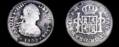 1802-FM Mexican 1 Real World Silver Coin - Mexico - Charles IIII