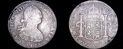 1805-TH Mexican 1 Real World Silver Coin - Mexico - Charles IIII