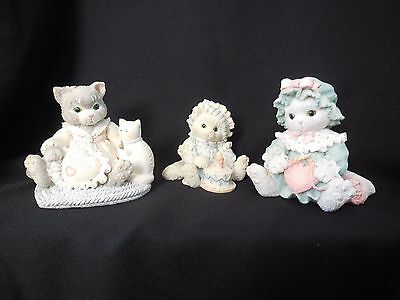 3 Calico Kittens Cat Figurines 1993