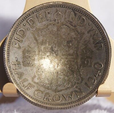 1940 Great Britain 1/2 Crown World Silver Coin - Cupped - UK- England