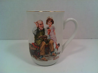 The Cobbler Coffee Mug Tea Cup Norman Rockwell Museum 1982 Vintage