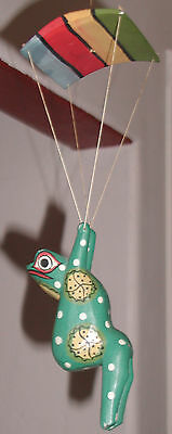 """Parachuting Green Wooden Frog 6""""  - Hand Painted and Carved from Indonesia"""