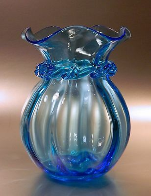 Vintage Pilgrim Blue Glass Vase with Applied Collar and Ruffled Rim, NR!