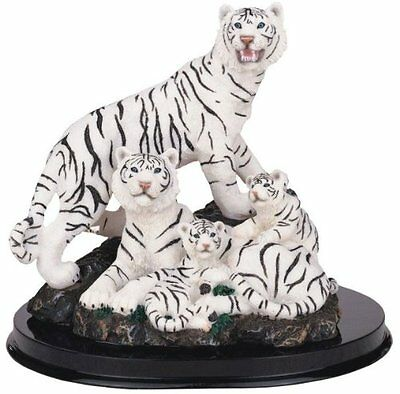 "7"" White Tiger Family Statue Figurine Safari Wildlife Wild Cat Animal Figure"