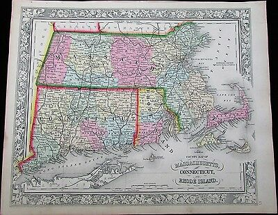 Massachusetts & Connecticut New England states 1863 lovely Mitchell antique map