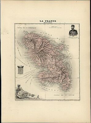 French Martinique Caribbean island 1903 decorative antique map Fort de France