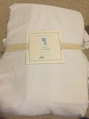 "POTTERY BARN KIDS Eyelet BED SKIRT WHITE FULL 18"" Drop NWT Three Layers Eyelets!"