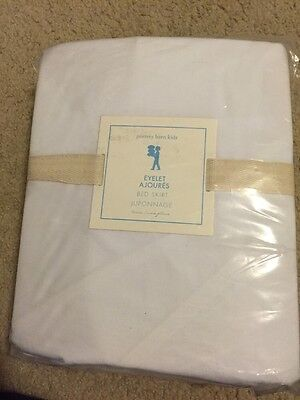 "POTTERY BARN KIDS Eyelet BED SKIRT WHITE TWIN 18"" Drop NWT Three Layers Eyelets!"