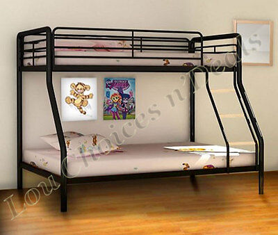 Metal Bunk Bed Frame Triple Sleeper Double Base Single Top Children Adult Black