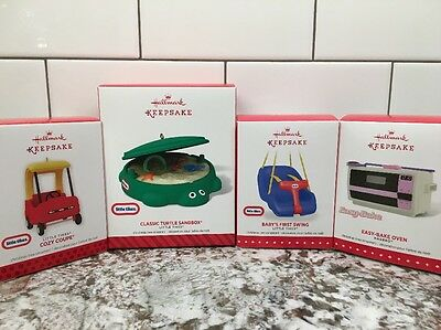 NEW Hallmark Ornament Lot LITTLE TIKES Cozy Coupe Turtle Sandbox Swing Easy-Bake
