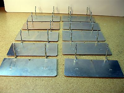 Lot of 10 Grid/Slatwall/Pegboard Sheet Metal Shelf Shelves 6-3/4 x3 x 1-7/8 Inch