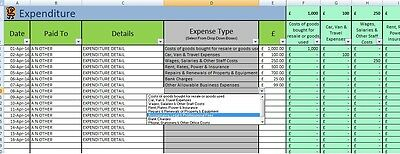Bookkeeping Spreadsheet Self Employed and Subcontractors