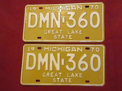 1970 Michigan License Plates-PAIR: #DMN-360, Genesee County