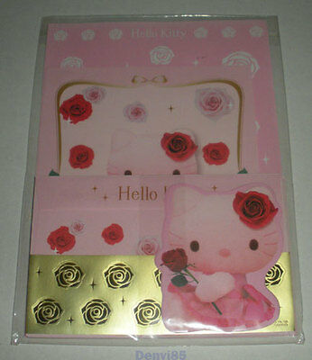 "VERY CUTE & HTF! 2008 Sanrio HELLO KITTY ""Roses"" Stationery Set from JAPAN! NEW!"