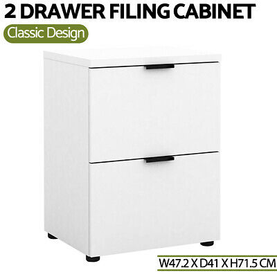 2 Drawer Filing Cabinet Office Shelves Storage Cupboard White