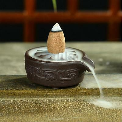 Ceramic Glaze Carved Incense Burner Backflow Censer Smoke Cone Holder Stick