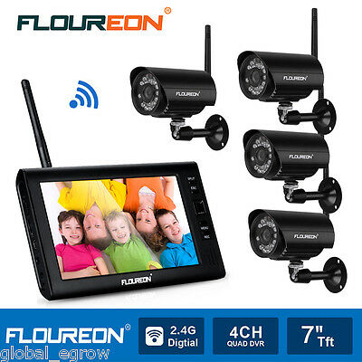 """Outdoor Digital Wireless Security System Surveilance 4 Cameras + 7"""" LCD Monitor"""