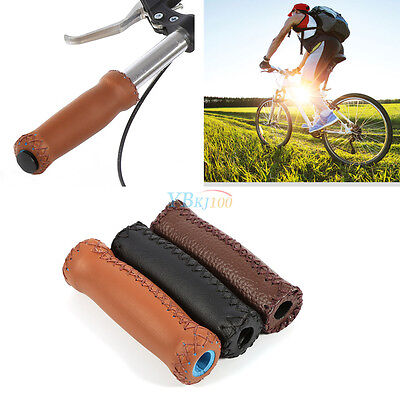 2 pcs Vintage Bike Bicycle Leather Handlebar Cover Bike Grips Bar Leather