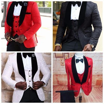 Custom Groomsmen Groom Tuxedos Red/White/Black Men Suits Wedding Best Man Blazer