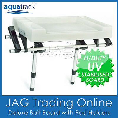 AQUATRACK DELUXE X-LARGE BAIT CUTTING BOARD & 2 SIDE ROD HOLDERS - Boat/Fishing