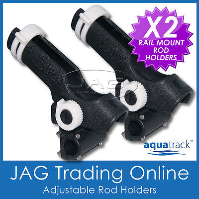 2 x H/DUTY ADJUSTABLE RATCHET SIDE / RAIL MOUNT PLASTIC FISHING BOAT ROD HOLDERS