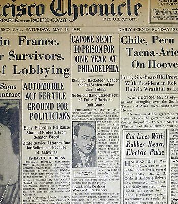 1929 San Francisco Chronicle Newspaper Pages - Al Capone Sent To Prison