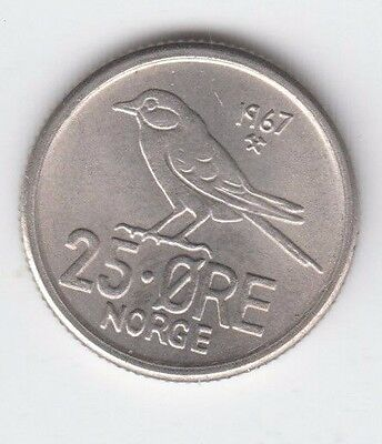 Norway 25 Ore Norge 1967 aUnc really nice condition