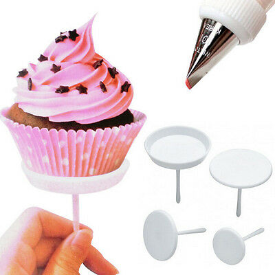 Cake Cupcake Stand Ice Cream Flower Nails Set Sugarcraft Decorating Tool 4PC MW