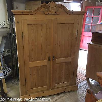 Lovely Reclaimed Victorian Stripped Pine Double Door Bedroom Wardrobe Amoire