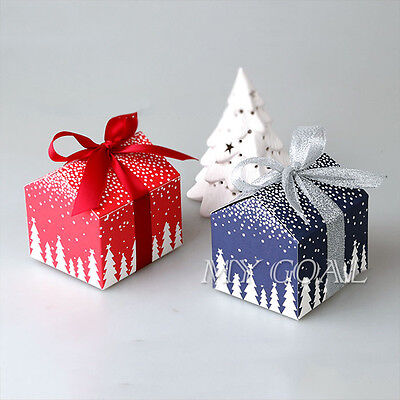 10x Christmas Eve Gift Box Party Favour Cookies Biscuit Candy Present Boxes Bags