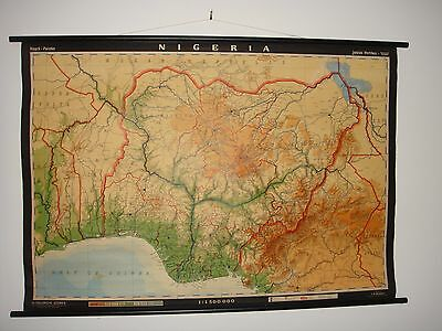 """Justus Perthes Roll up map of nigeria 50"""" x 35"""""""