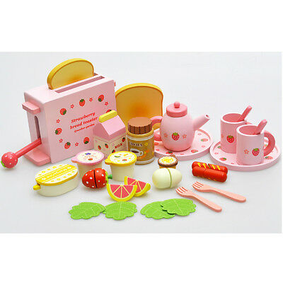 28 Pc Wooden Pretend Play Toy Breakfast Toaster Sausage & Fruit Food Cutting Set
