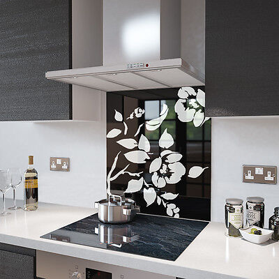 Black Floral - White Flower Toughened Glass Splashback - Various Sizes