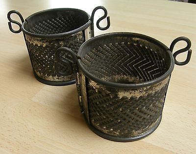 """ANTIQUE French raised game pie moulds ~ Pair of hinged 4"""" tins ~ KITCHENALIA"""