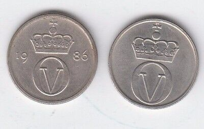 Norway 10 Ore Norge 1972 and 1986 2 coin lot