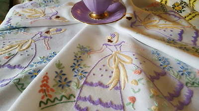 Gorgeous Vintage Hand Embroidered Crinoline Lady Tablecloth Lavender & Lemon