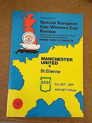 1977/78  Manchester United V St Etienne TELEVISED COPY  ECWC Football Programme