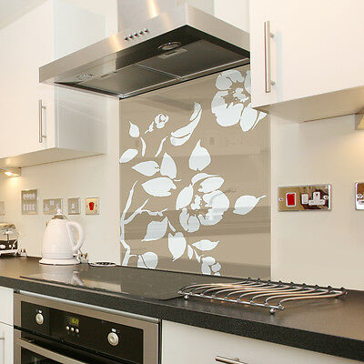 Floral Cappuccino with White Flower Toughened Glass Splashback - Various Sizes