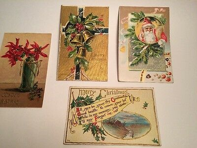 four Antique Christmas cards early 1900's