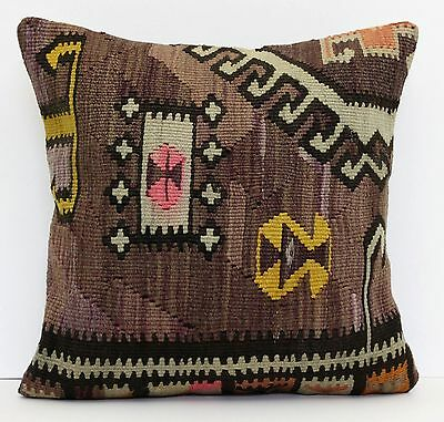 """AUTHENTIC TRIBAL TURKISH HANDWOVEN KILIM RUG DECORATIVE PILLOW COVER 18"""" x 18"""""""