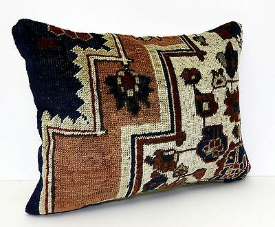 "VINTAGE HAND KNOTTED TURKISH ORIENTAL CARPET RUG PILLOW CUSHION COVER 22"" x 1'5"""